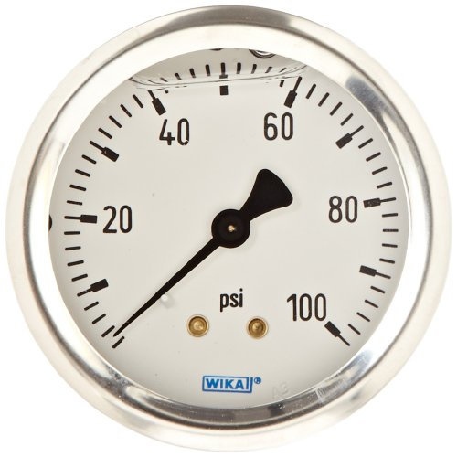 Gauge Wika - WIKA 9767215 Industrial Pressure Gauge, Liquid/Refillable, Copper Alloy Wetted Parts, 2-1/2