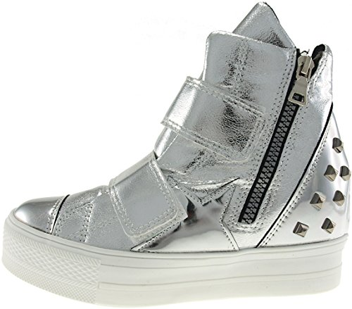 High Bands Sneakers Tall Up C2 Shoes Maxstar Velcro Top Silver C2 xEw07Xnpn