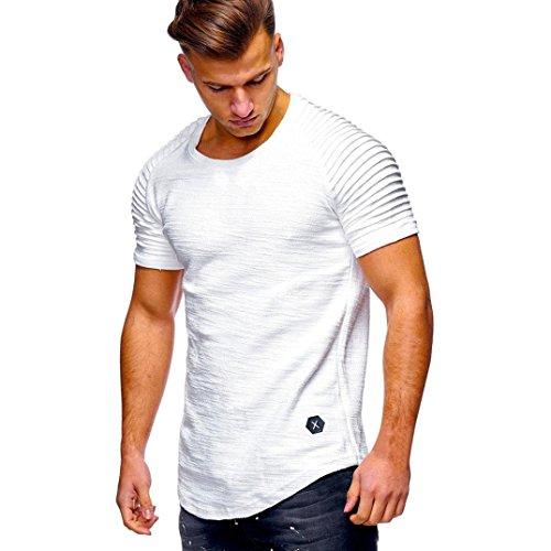 Shirt Senza shirt Elecenty Uomo T Bianco Basic Maglietta T Uomo da Uomo con Etichetta XA81qw