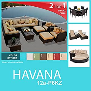 Havana 24 Piece Outdoor Wicker Patio Furniture Package HAVANA-12a-P6KZ