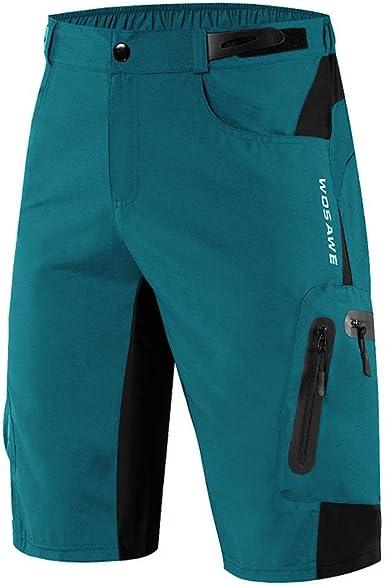 WOSAWE Pantalones Cortos de Ciclismo para Hombre Transpirable Gel 3D Acolchada Sueltos MTB Ropa Interior Pantalones