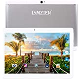 LAMZIEN 10.1 Inch Tablet 3G Android Phablet Dual Sim Card Quad Core CPU 1GB+16GB DDR3 1280×800 720P IPS Display Dual Camera Support 2G/3G WiFi Bluetooth GPS, White