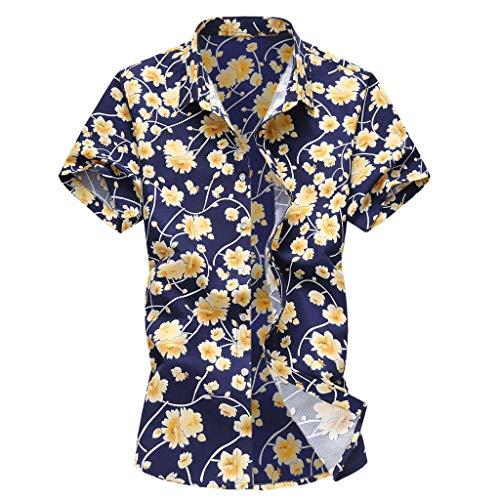 Kulywon Mens Shirts Men Casual Summer Printed Button Short Sleeve Hawaiian T-Shirt Top Blouse Yellow - First Redskins Tee