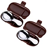 MyLifeUNIT Baby Self-Feeding Spoons, Stainless Steel Baby Spoon Set with Carrying Case, 2 Pack (Brown)