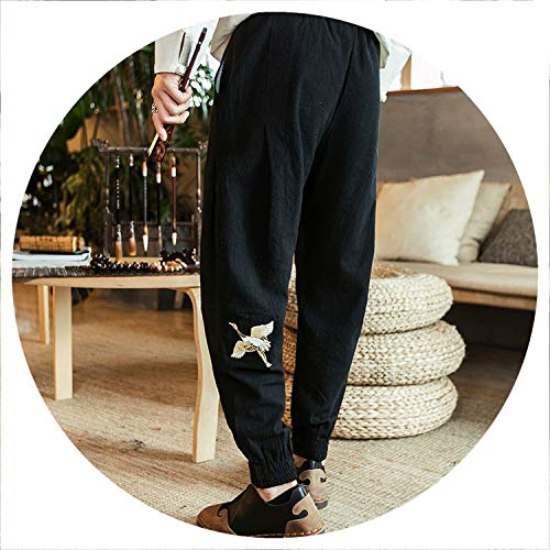 Linen Casual feet feet Pants National Wind Loose Large Size Wide Leg Pants Embroidery Chie Style,Black,M