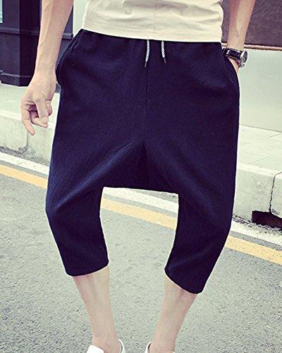 Plage Taille Homme Laozana De Sarouel 4 Baggy Shorts 3 Pantacourt Large En Ample Lin Léger Décontracté Noir Pantalons Pantalon Grande 4UqUa