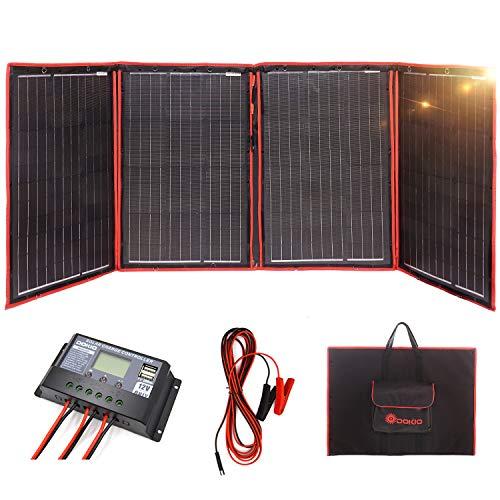 DOKIO 200 Watts 12 Volts Monocrystalline Foldable Solar Panel with Solar Charger Controller (Mono Solar Panel)