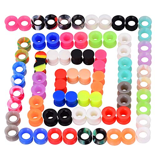 Longbeauty 36Pcs/76Pcs Colorful Soft Silicone Ear Gauges Flexible Ear Skin Tunnels Earlets Plugs Stretcher Expander Set Piercing Jewelry 2g-3/4 ()