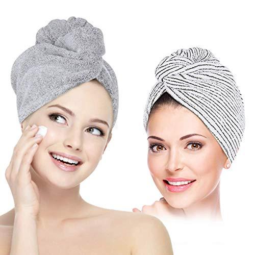 2 Pack Hair Towel Wrap Microfiber Anti Frizz Absorbent /& Soft Hair Towel Turban Quick Dry Hair Drying Towels Hair Cap Bath Hair Cap for Women Girls Mom Daughter 55 23cm