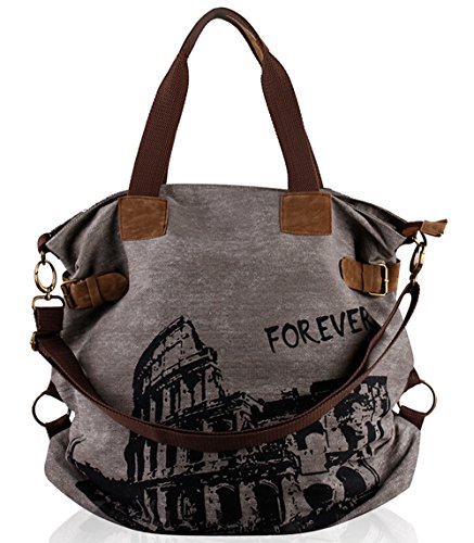 Fansela Women Vintage Retro Canvas Hobo Shopper Crossbody Handbag,   Grey by Fansela