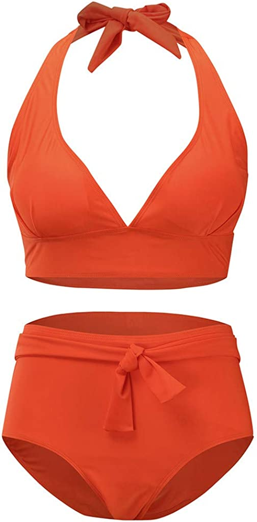 Womens Two Piece Swimsuits Plus Size Color Block Halter Bikini Set Padded Beach Bathing Suits