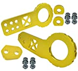 ICBEAMER Racing X-Style Pattern Anodized CNC Aluminum Tow Hook Kit Front and Rear Tow Hook with Screw [Color: Gold]