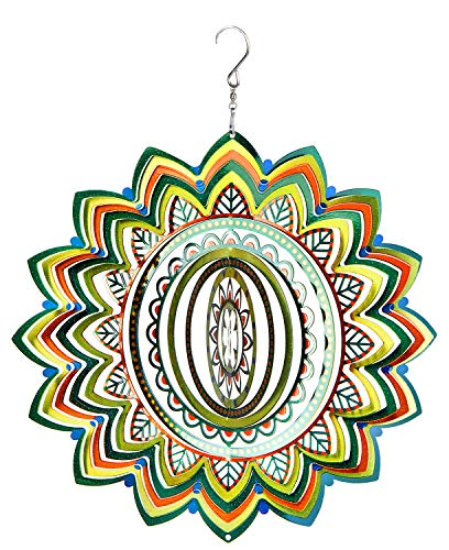 3D Sculptures Hanging Wind Spinner Garden Patio Outdoor Indoor Lawn Decoration Crafts Ornaments Gift with Swivel Hooks Laser Cut Hand Painted Mandala Lucky Star Green 12 - Decoration 3d Hanging