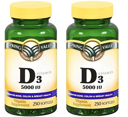 Spring Valley - Vitamin D-3 5000 IU, Twin Pack 500 Total Softgels (2)