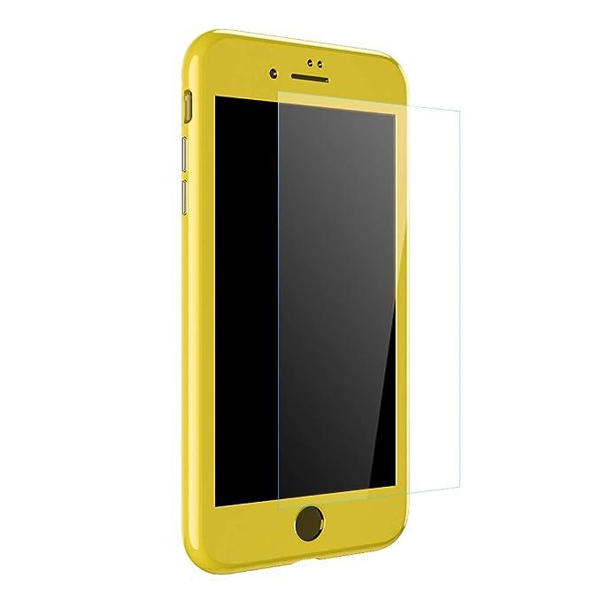 Qissy Funda iPhone 7 Plus, iPhone 8 Plus 360 Grados Completa Metal Marco de Parachoques Absorción Magnética Carcasa Integral y Cristal de Vidrio ...