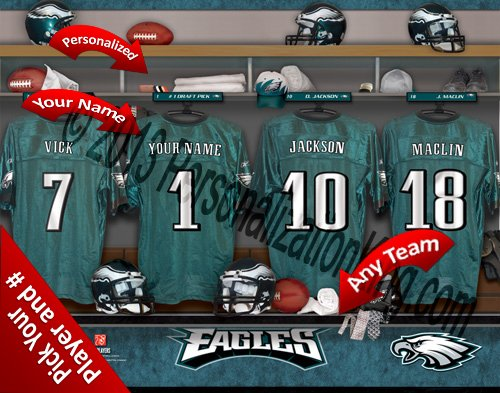 Philadelphia Eagles Team Locker Room Clubhouse Personlized Officially Licensed NFL Photo Print ()