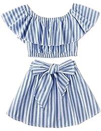 Toddler Girl Stripe Off-Shouler Tube Top + Pant Set Outfit