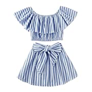 Greenafter Toddler Girl Stripe Off-Shouler Tube Top + Pant Set Outfit (Blue(Skirt Set), 1-2Years)