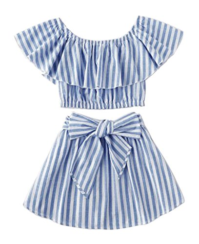 Toddler Girl Stripe Off-Shouler Tube Top + Pant Set Outfit (Blue(Skirt Set), 4-5Years)]()