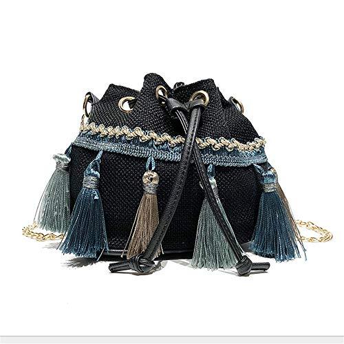 Bandoulière Mzdpp Sac Bandoulière Chaîne Sac Style À À Couleurs Femme 3 Gland Ethnique Oblique Black Sac rEXqrfS