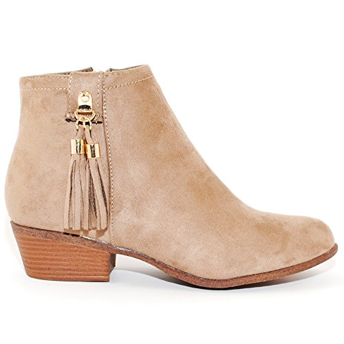 Women's Inside TRENDSup Booties Stacked Western Ankle Zipper Heel Collection Taupe fSwxPw5
