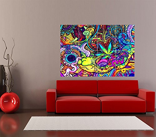 Psychedelic Trippy Art Snail Giant Print Home Decor Poster