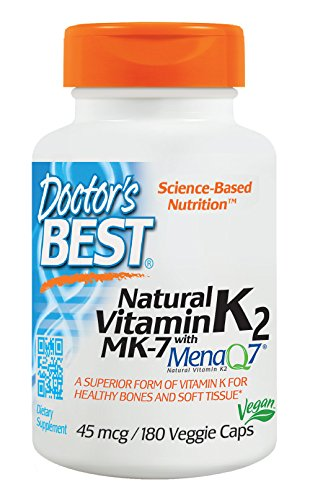 Doctor's Best Natural Vitamin K2 MK-7 with MenaQ7, Non-GMO, Vegan, Gluten Free, Soy Free, 45 mcg, 180 Veggie Caps
