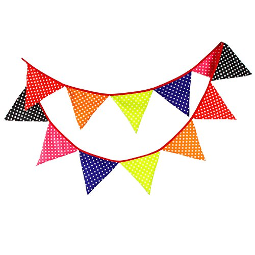 3.3m Stripe Polka Dot Pattern Cotton Fabric 12 Triangle Flags Double Sided Pennant Flag Banner for Christmas Halloween Wedding Birthday Party Decorations Garlands]()