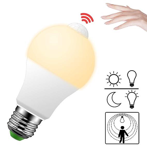 LED Lampe mit Bewegungsmelder E27 Bewegungsmelder innen PIR Sensor 9W Warmweiß 2700K Glühbirne Birne für Innenraum Treppe Flu