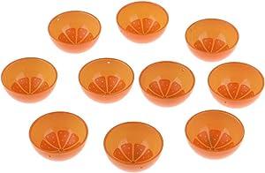 Tongina 10pcs 1/6 Scale Orange Printed Bowl Dollhouse Tableware Furniture Accessory