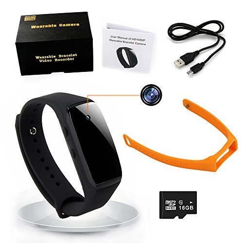 1080P Bracelet Wearable Hidden Camera,16GB Wirstband Mini Spy Camera Video Audio Recording Kit (Hidden Video Camera With Audio)