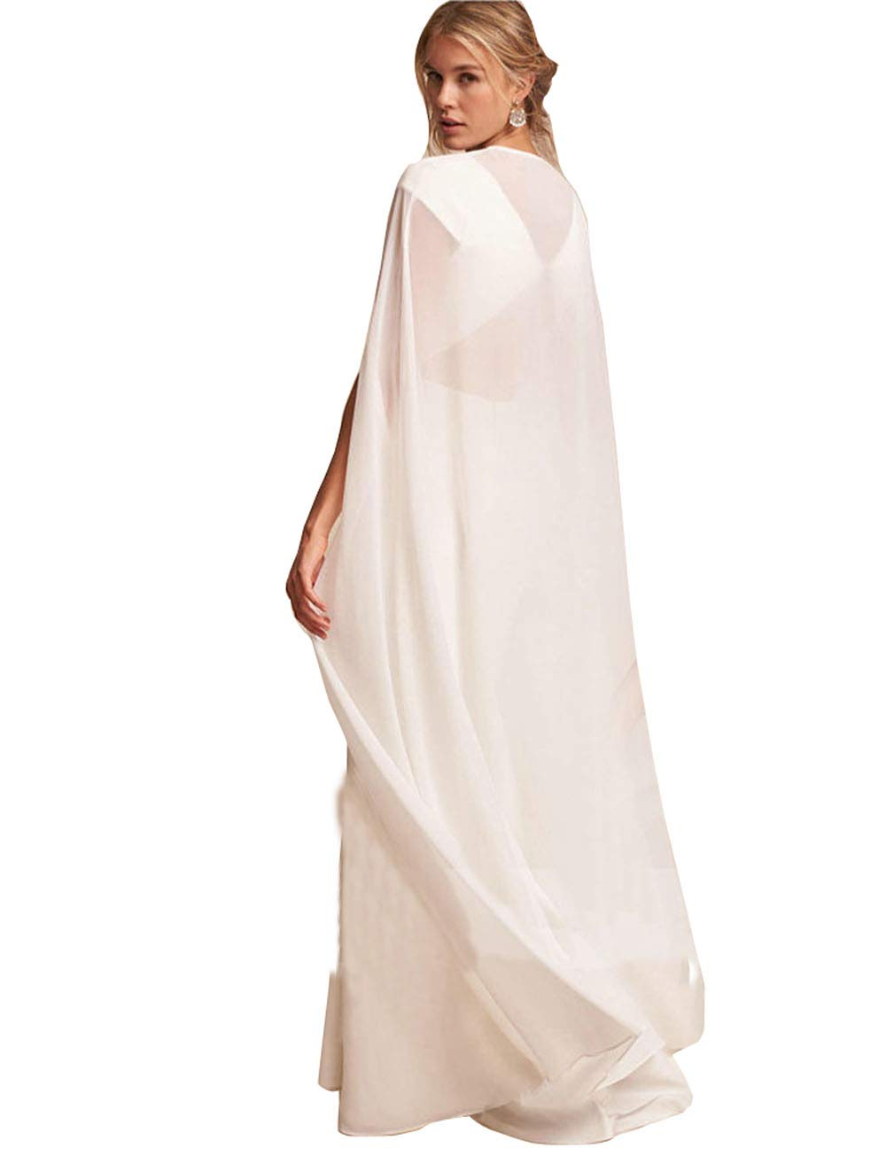 Bridal Wedding Capes Veils Chiffon Bridal Wraps Cathedral Length Wedding Cloak with Arm Hole (white, L)