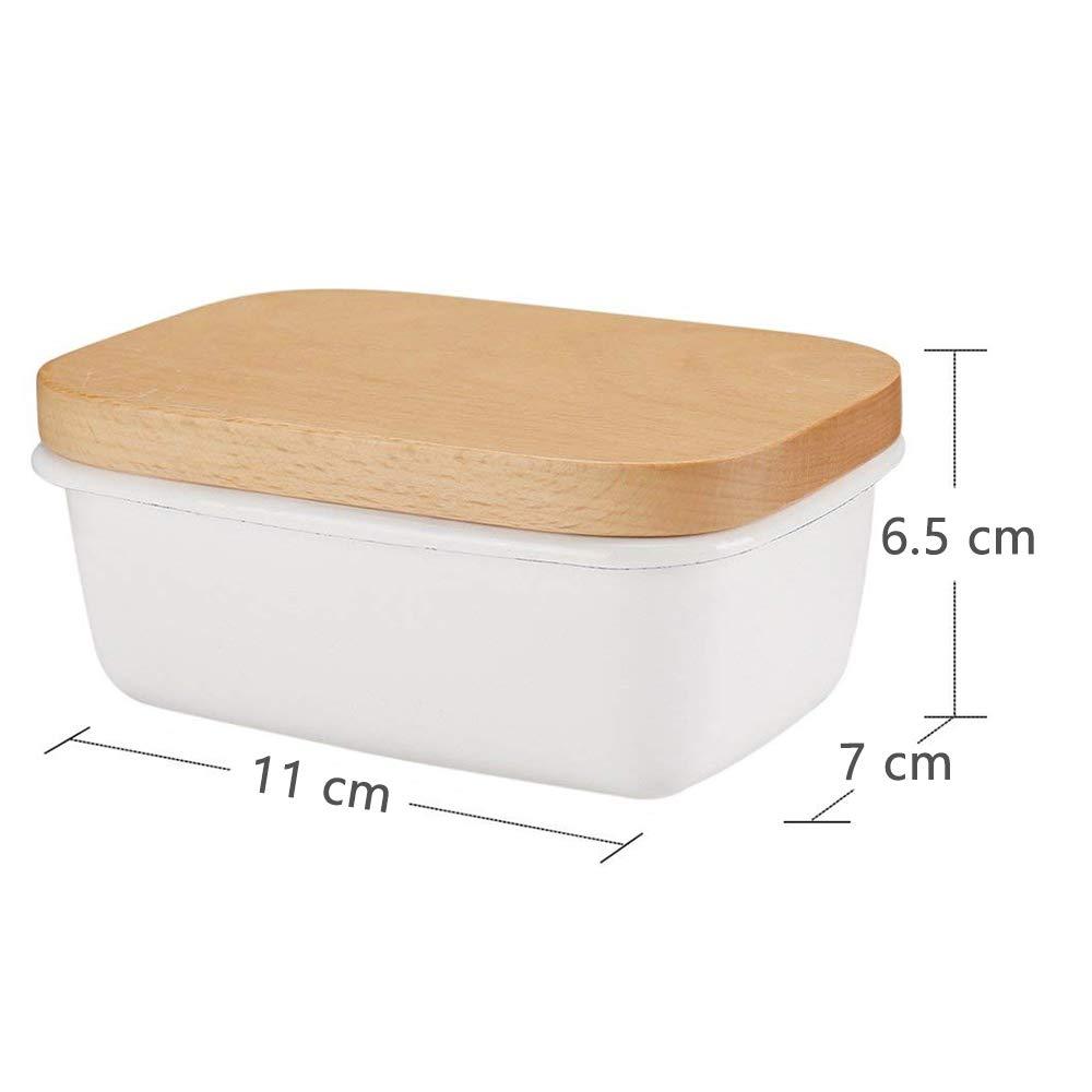Blanco para 250g de Mantequilla G.a HOMEFAVOR Plato de Mantequilla de Esmalte con Tapa de Madera