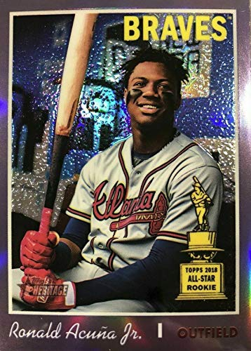 (2019 Topps Heritage CHROME - Ronald Acuna Jr - Rookie Cup PURPLE REFRACTOR Parallel - Atlanta Braves Baseball Card #THC500)