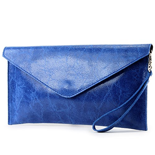 Leather modamoda ital T106G underarm bag de leather bag Wrist bag Evening Light bag bag Smooth Clutch Blue Wrist qxxXErw5Z