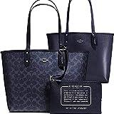 SALE ! New Authentic COACH Signature C Logo Monogram Denim Blue Navy Large Shopper Tote Shoulder Bag