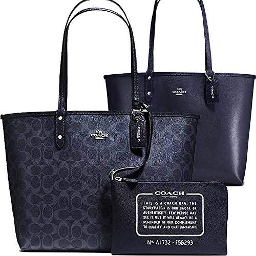 SALE ! New Authentic COACH Signature C Logo Monogram Denim Blue Navy Large Shopper Tote Shoulder Bag -