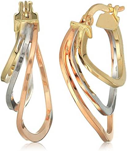18k Tri Colored Polished Hoop Earrings