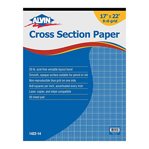 Alvin 1422-14 Cross Section Paper 8 x 8 Grid 50-Sheet Pad 17 inches x 22 - Section Cross Pencil