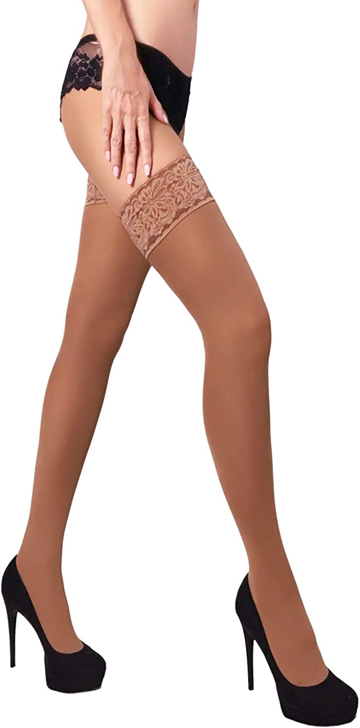 MILA MARUTTI Thigh High Opaque Lace Top Silicone Stockings Nylons 40 Denier Womens Pantyhose
