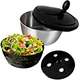 Stainless Steel Salad Spinner-Suitable for Vegetables,Fruit and Lettuce-Easy to Clean and Dishwasher Safe