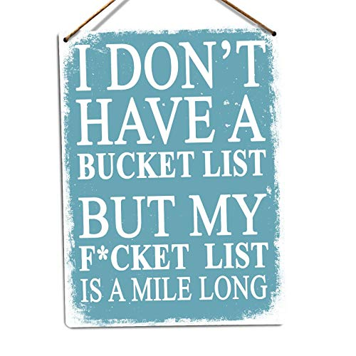 Bucket List Rude Joke Funny Humour Comedy Tin Sign Metal Sign TIN Sign 7.8X11.8 INCH