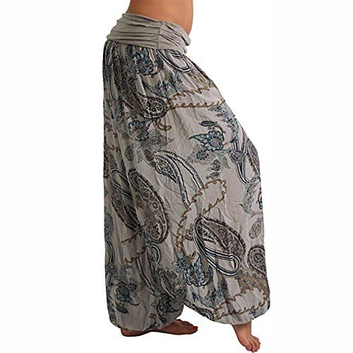Loose Pocket Floral Wide Leg Gray Casual Trouser Pants Print Palazzo Women Vaycally 41wqAfx6K