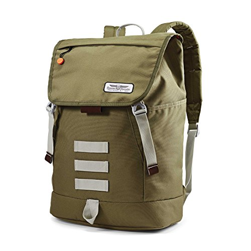 American Tourister Side Step Backpack Green/Grey/Orange
