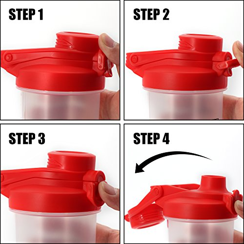 New Generation Shake Bottle Flip Top Spout With Lid Lock New Mixer Ball To Mix Protein Powder Easy Shaker Water Bottle With Handle (240Z-Red)