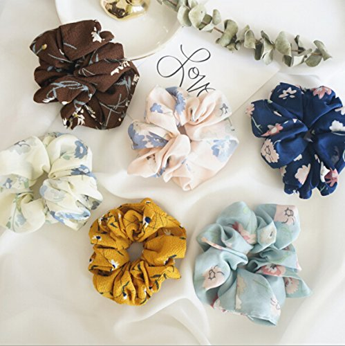 Teemico Set of 6 Pieces Large Women's Chiffon Flower Hair Scrunchies Hair Bow Chiffon Ponytail Holder,Style 2