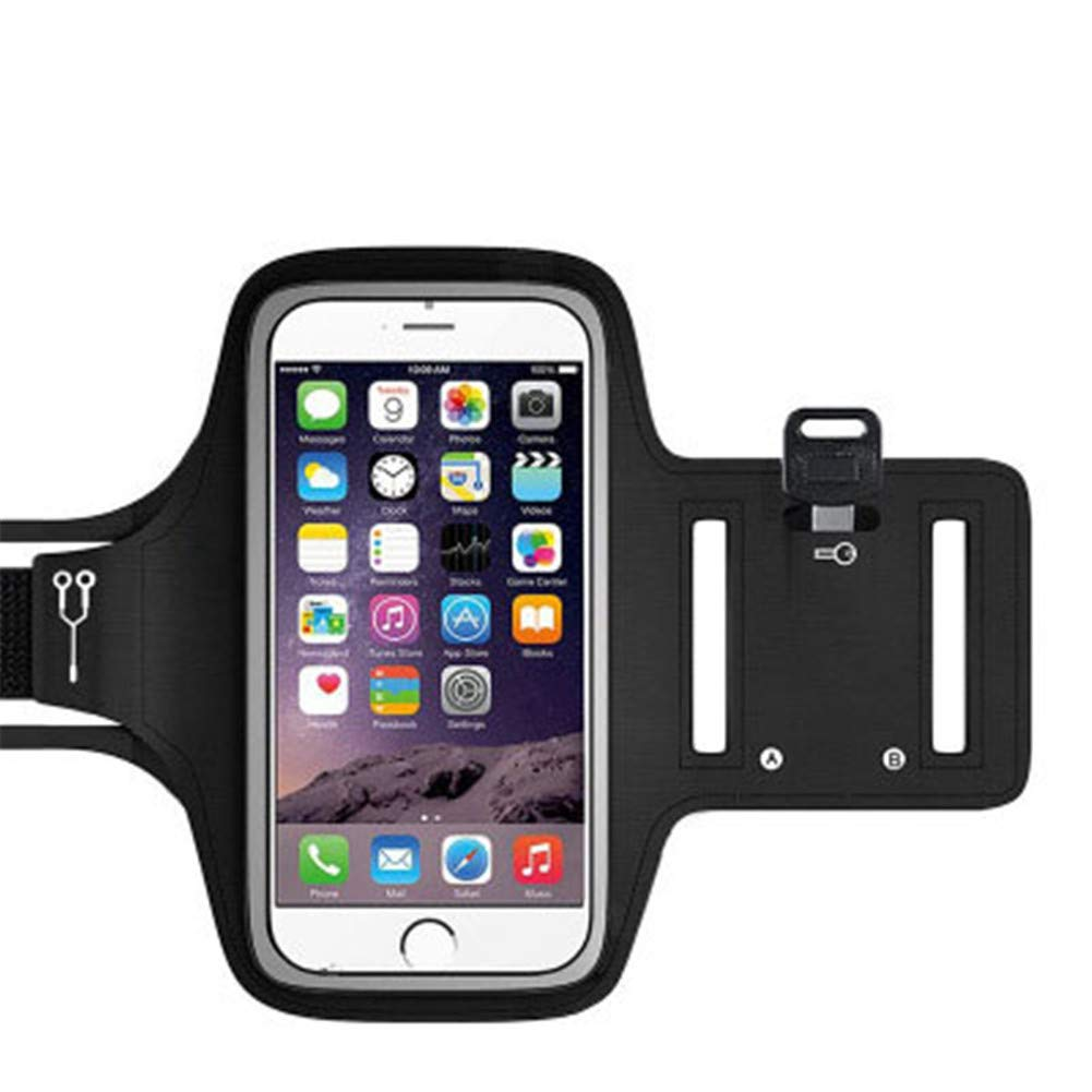 CRZJ Sweatproof Sports Armband, Outdoor Sports Mobile Phone Armband, with Key Slot, Suitable for Screen Mobile Phones Up to 6 Inches. Black
