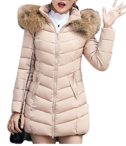 Puffer Long Khaki Collar Down Gocgt Women Casual Fur Jacket FXHFSwq