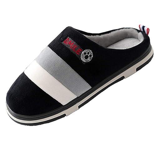 Zapatillas de Casa Mujer Hombre Invierno Pantuflas Algodon Peluche Zapatos Caliente Calzado Piel Forrado Plataforma Interior Slippers Cafe Gris Rosado ...
