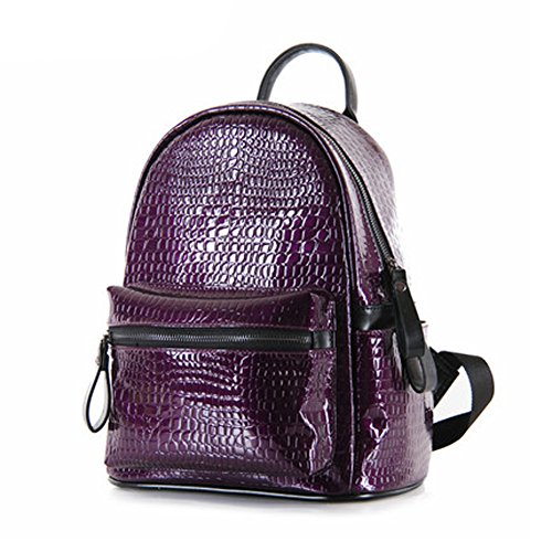 Grebago Women's Small Fashion Casual Backpack Crocodile Patent Leather Backpack Purple